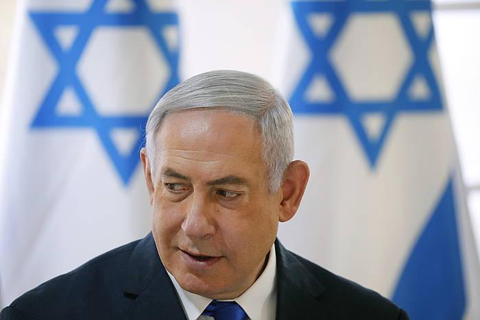 Benjamin Netanyahu Israelgo lehen ministroa, Jordan haranean egin duen mitinean. ©AMIR COHEN / POOL / EFE