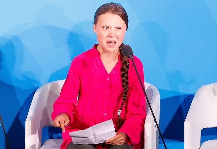 Greta Thunberg ekintzaile ekologista, atzo, NBEren Klima Ekintzarako Goi Bileran egin zuen hitzaldian. ©JUSTIN LANE, EFE