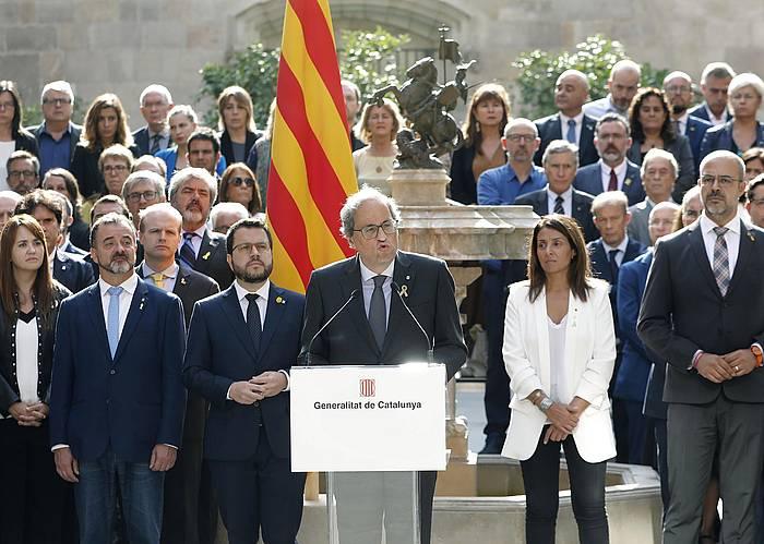 Quim Torra presidentea, Generalitateko kontseilariekin. / ©Andreu Dalmau, EFE