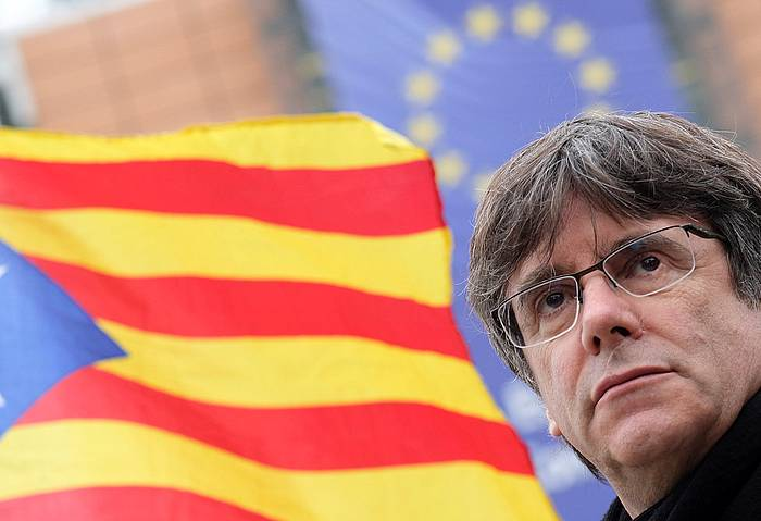 Carles Puigdemont, Bruselan, joan den asteartean. /