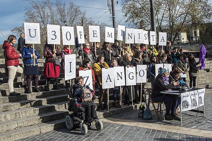 Euskal Herriko Mugimendu Feministako kideak, Bilbon. ©Marisol Ramirez / Foku