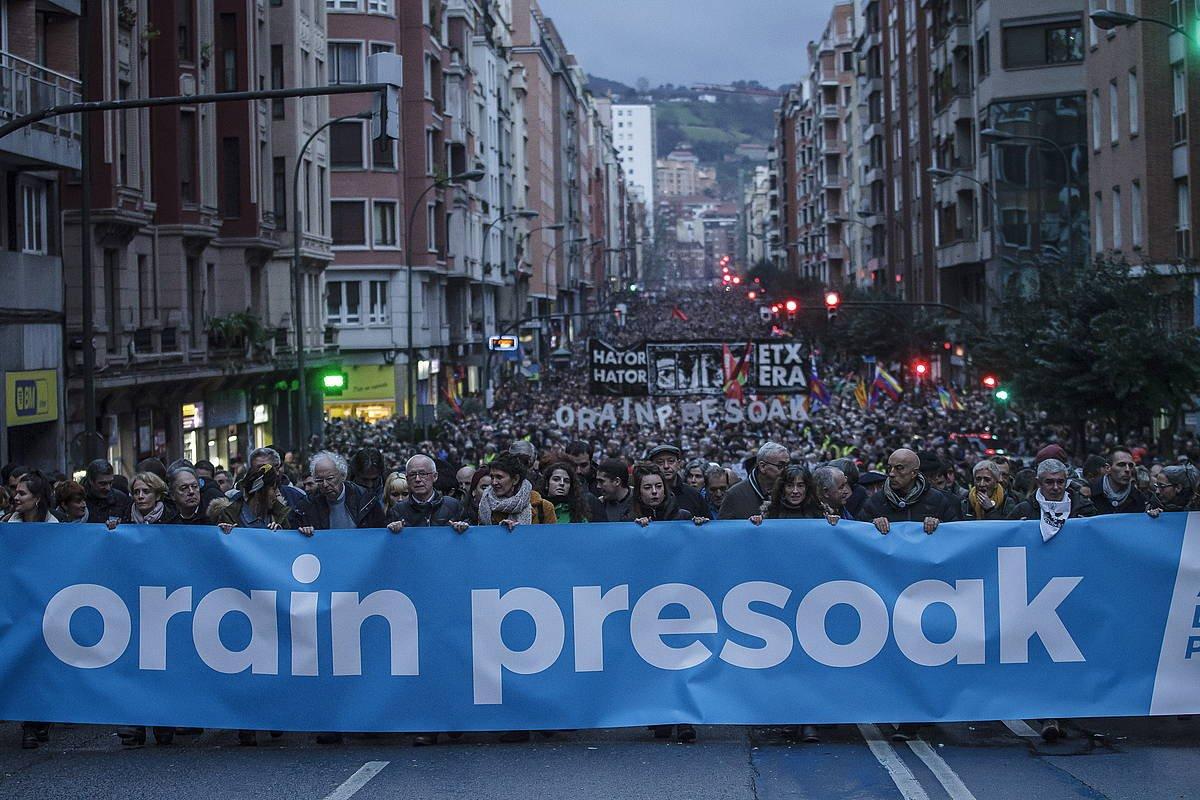 'Orain presoak' manifestazioa, iazko urtarrilean, Bilbon. ©Aritz Loiola