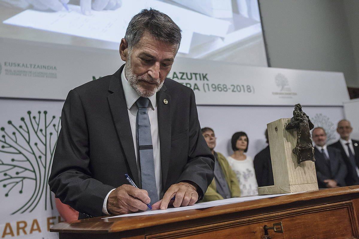 Euskaltzaindiaren biltzarra Arantzazun, 2018ko urrian. ©ARITZ LOIOLA / FOKU