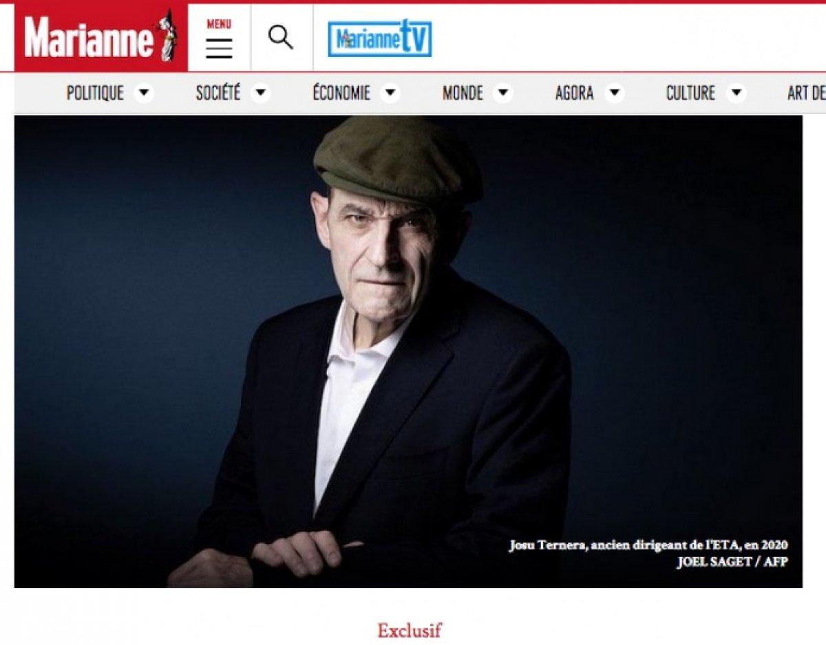 Josu Urrutikoetxea, 'Marianne' Frantziako aldizkariaren webean. ©