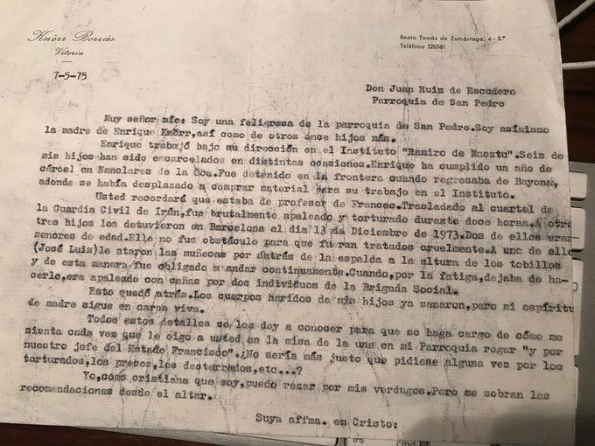 Teresa Borrasek Gasteizko San Pedro elizako parrokoari idatzitako gutuna.