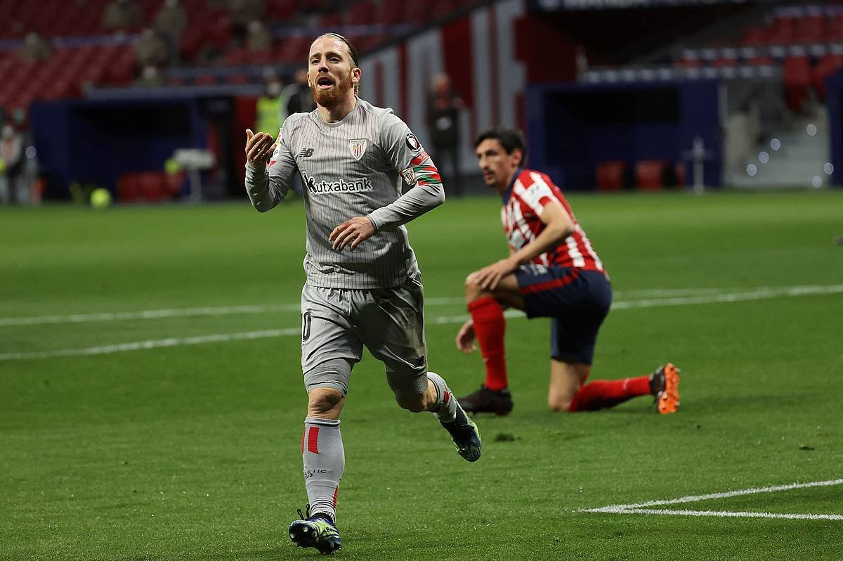 Muniain, gol bat ospatzen, Atletico Madrilen aurkako partidan. ©JuanJo Martin / Efe