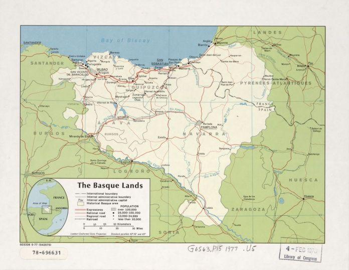 'The Basque Lands' mapa CIA / AEBetako Kongresuko Liburutegia