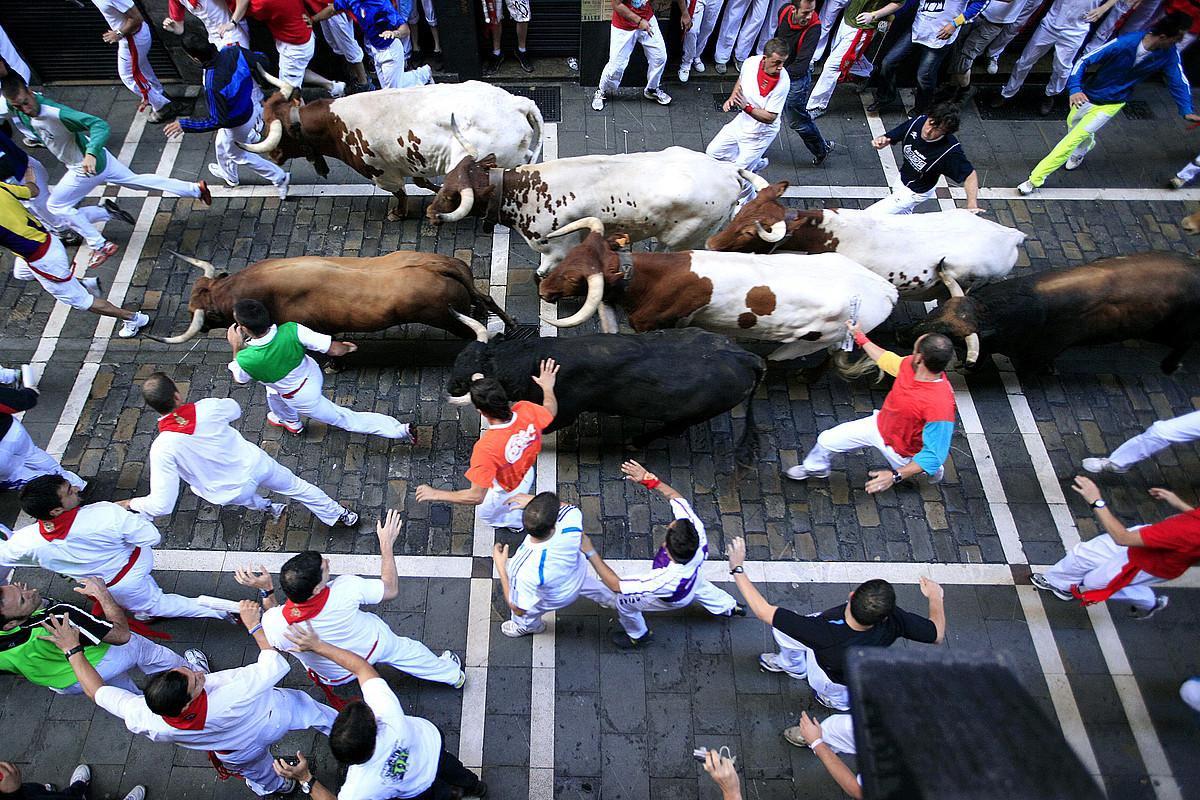 Bi minutu eta hogei segundoko iraupena izan zuen Nuñez del Cuvillo ganadutegiko zezenen entzierroak. / IÑIGO URIZ / ARGAZKI PRESS