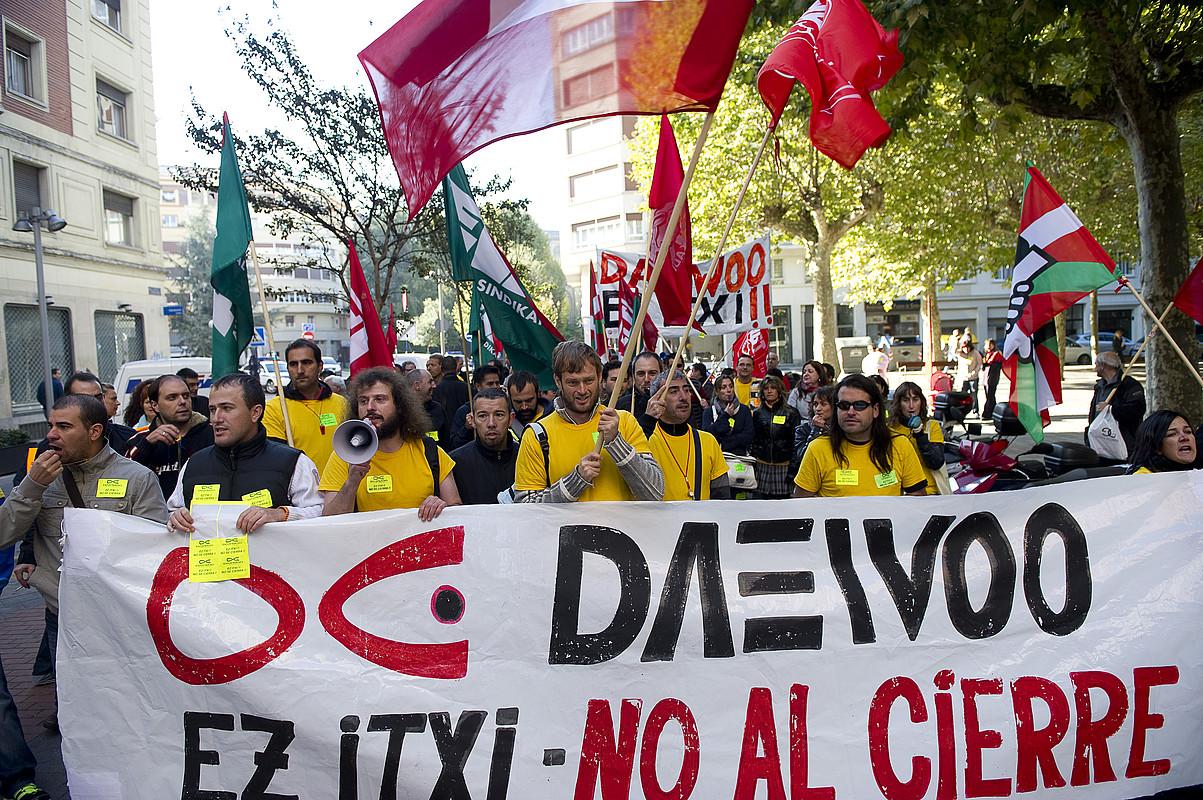 Daewooko langileen protesta bat. ©RAUL BOGAJO / ARGAZKI PRESS