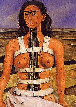 Emakumeen sufrimendu fisikoa eta psikikoa irudikatu zuen Frida Kalhok <em>La columna rota</em> margolanean. / BERRIA