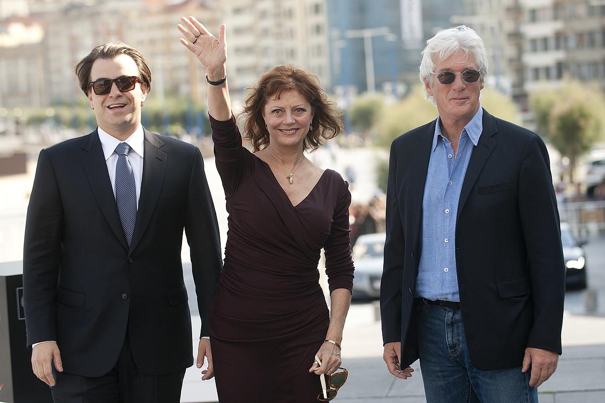 Nicholas Jarecki, Susan Sarandon eta Richard Gere, atzo, filma aurkeztu eta gero. / GARI GARAIALDE / ARGAZKI PRESS