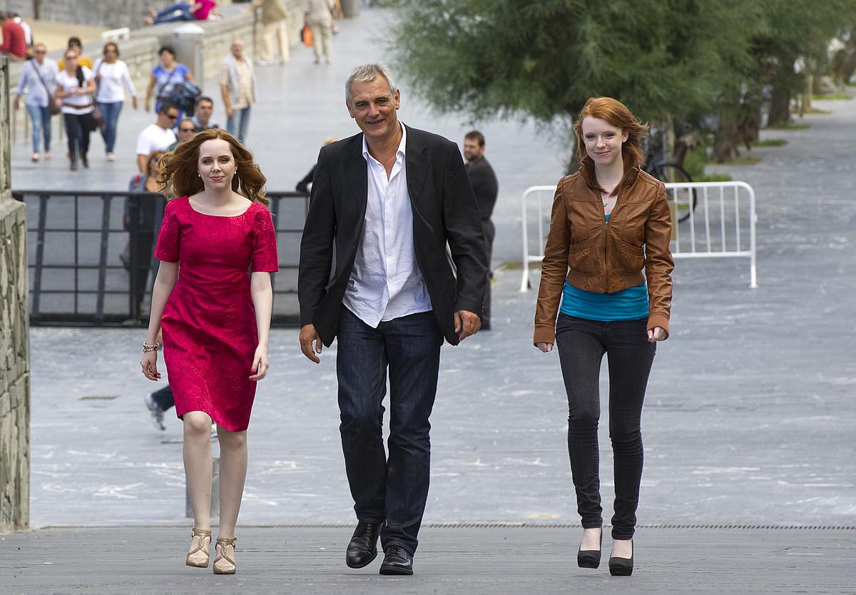 Madeleine Bisson, Laurent Cantet eta Katie Coseni, atzo. / GORKA RUBIO / ARP