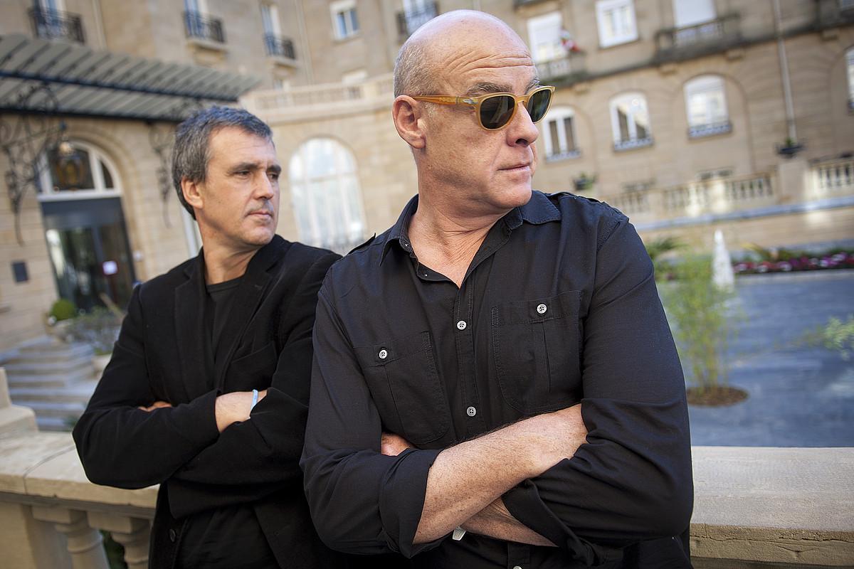 Patxo Telleria eta Aitor Mazo Donostian izan ziren atzo, filma aurkezten. / GARI GARAIALDE/ ARGAZKI PRESS