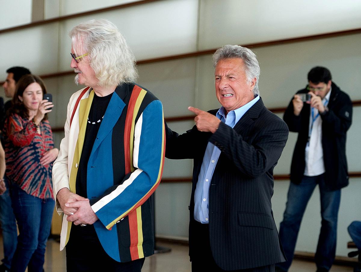 Billy Connolly aktorea eta Dustin Hoffman zuzendaria, atzo, Donostian, Kursaalean. / CONNY BEYREUTHER / ARGAZKI PRESS