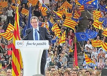 Artur Mas Kataluniako presidentea, atzo, Palau Sant Jordin, CiUren kanpaina amaierako ekitaldian. / S. VELTE