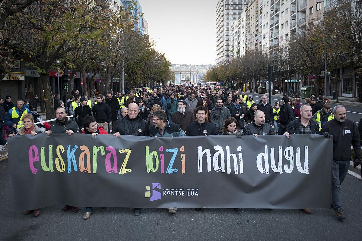 Euskaraz bizitzearen alde iaz Donostian eginiko manifestazioa. / G. GARAIALDE / ARP