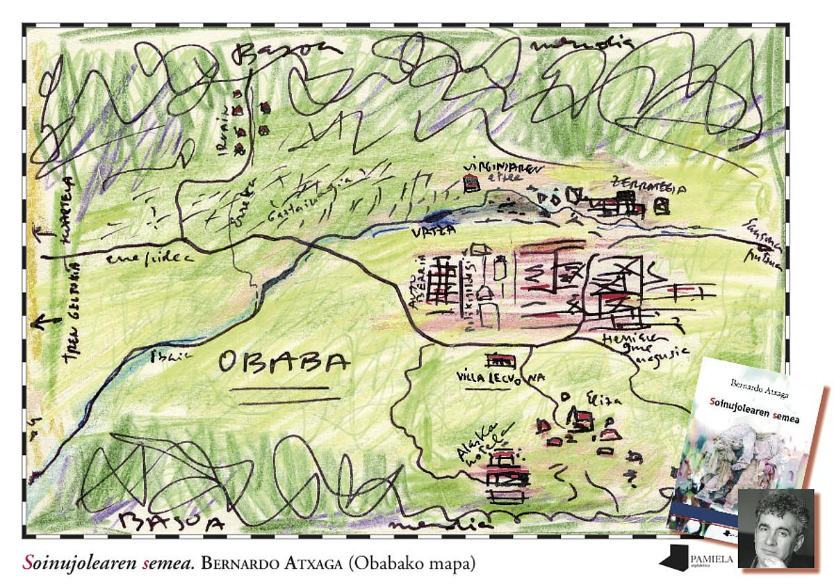 Bernardo Atxaga idazleak <em>Soinujolearen semea</em> liburuaren argitalpenerako Obaba izeneko fikziozko herria erakusten zuen maparen irudia. / BERNARDO ATXAGA / PAMIELA