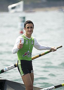 Joseba Amunarriz Hondarribiko patroia, pozik garaipenarekin.