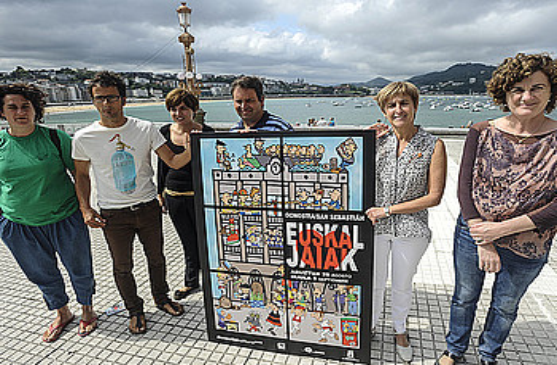 Ioseba Imanol Vilas donostiarrak egin du aurtengo Euskal Jaietako kartela; ezkerretik, laugarrena. ©J. MANTEROLA / ARP