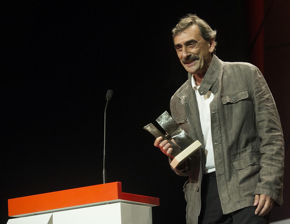 Juanba Berasategi, atzoko ekitaldian. / JON URBE / ARGAZKI PRESS
