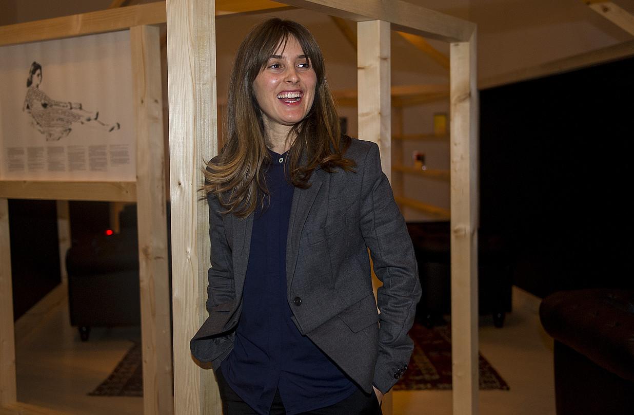 Laida Lertxundi, atzo, erakusketaren aurkezpenean. ©MONIKA DEL VALLE / ARGAZKI PRESS