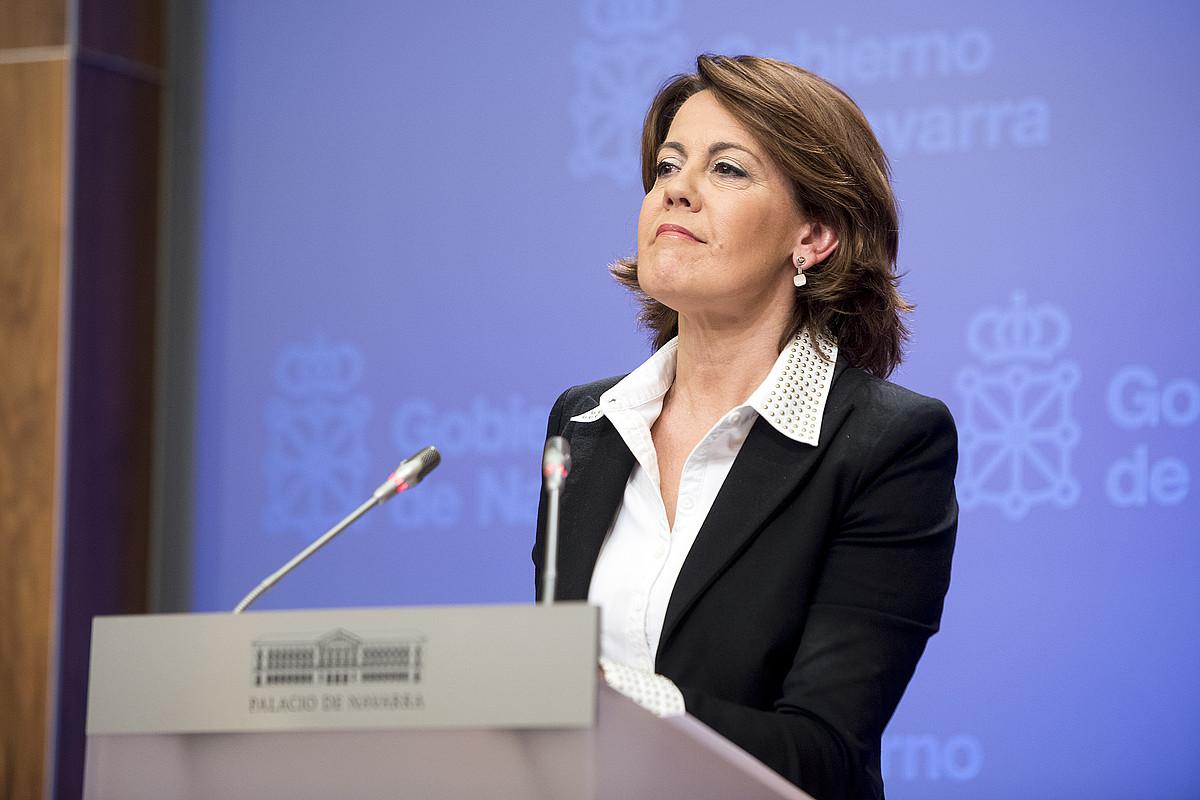 Yolanda Barcina, atzo, ikerketa batzordeak ondorioak eman ondorengo agerraldian. / IÑIGO URIZ / ARGAZKI PRESS