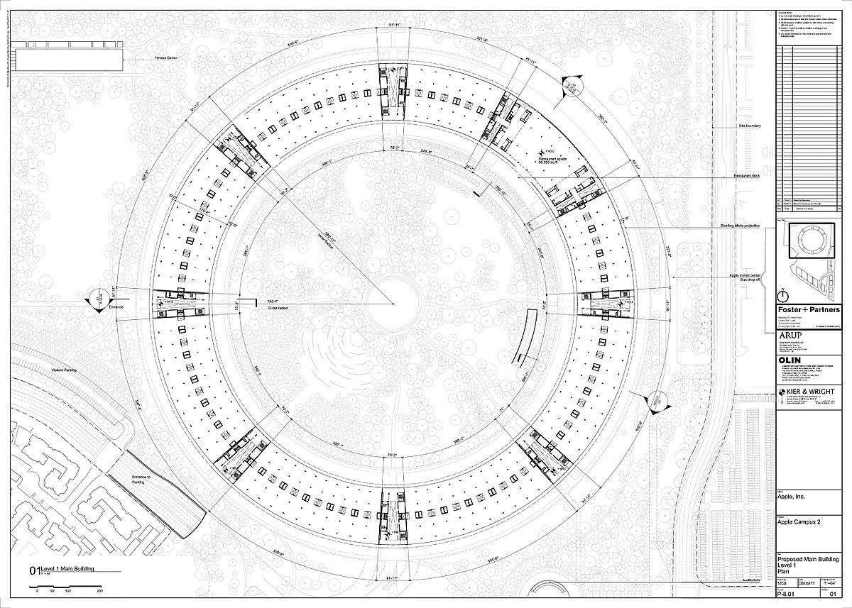 Apple Campus proiektua, Cupertinon. Foster + Partners arkitekto taldearena. ©F+P