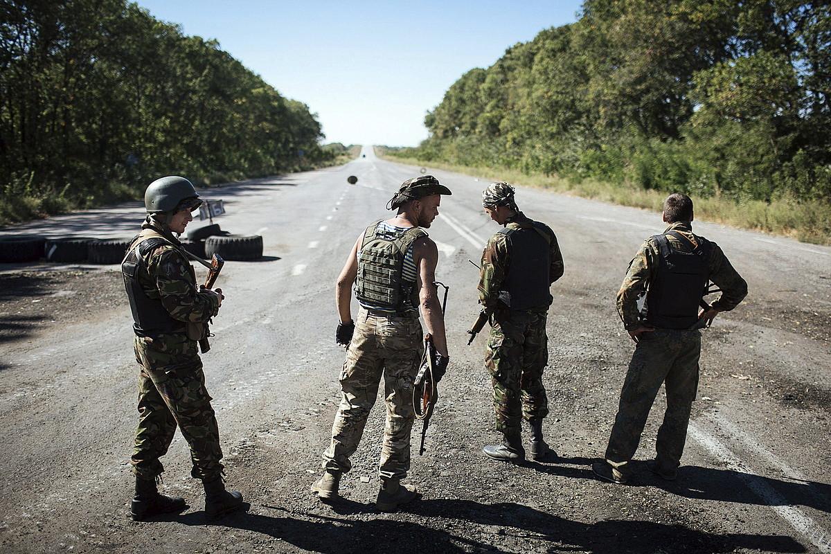 Ukrainako armadaren zaintza postu bat, Donetsk eskualdean.