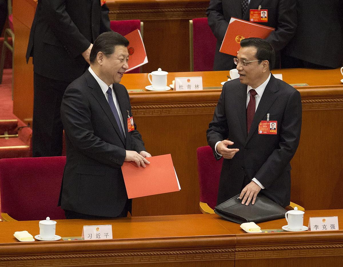 Xi Jinping Txinako presidentea, eta Li Keqiang lehen ministroa, martxoan eginiko biltzarrean.