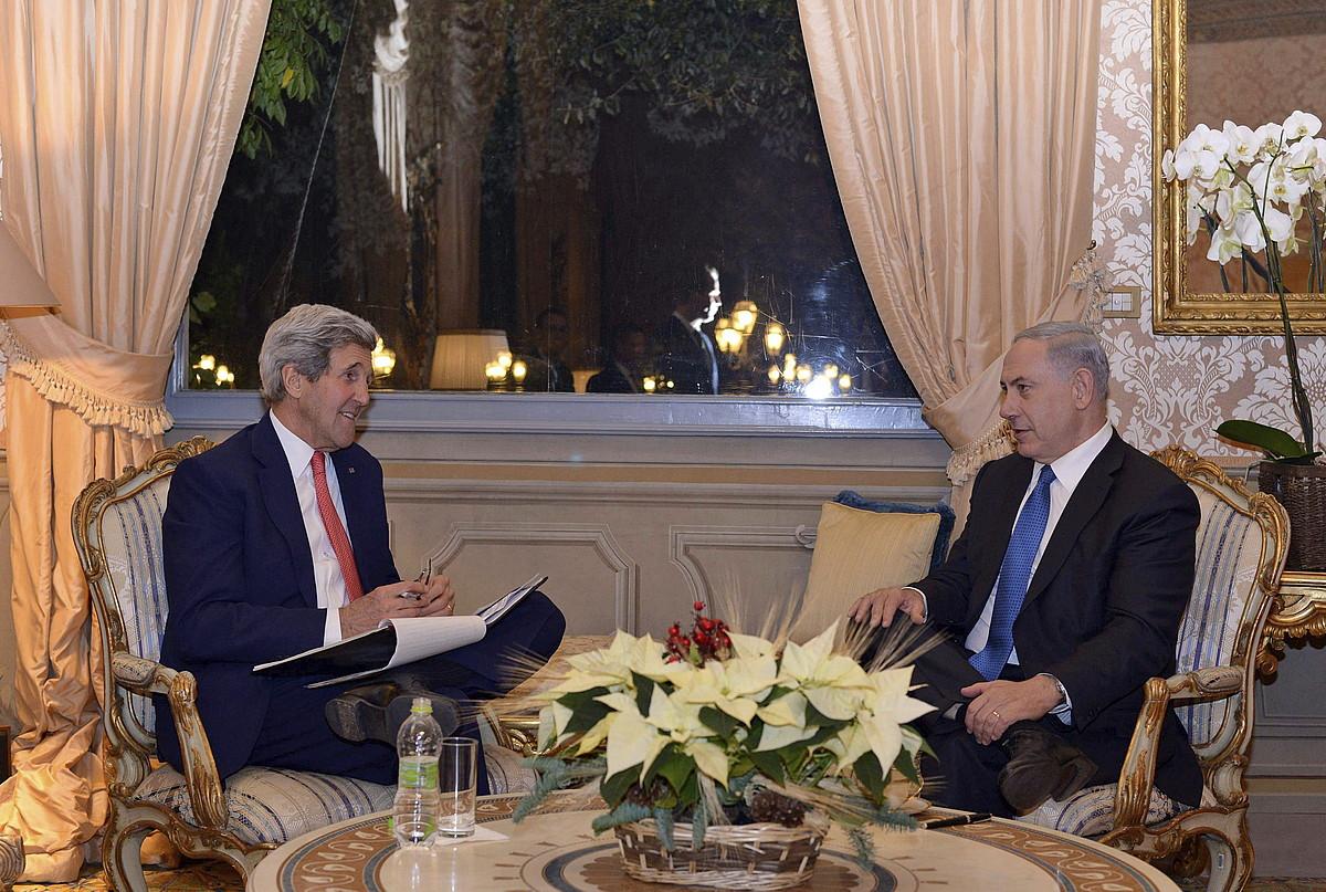 John Kerry eta Benjamin Netanyahu, Erromako hitzorduan.