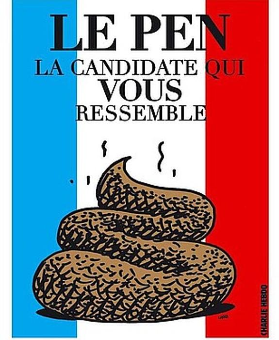 'Charlie Hebdo' aldizkariaren azken urteetako zenbait azal. Korana kaka bat dela dioena, tartean.