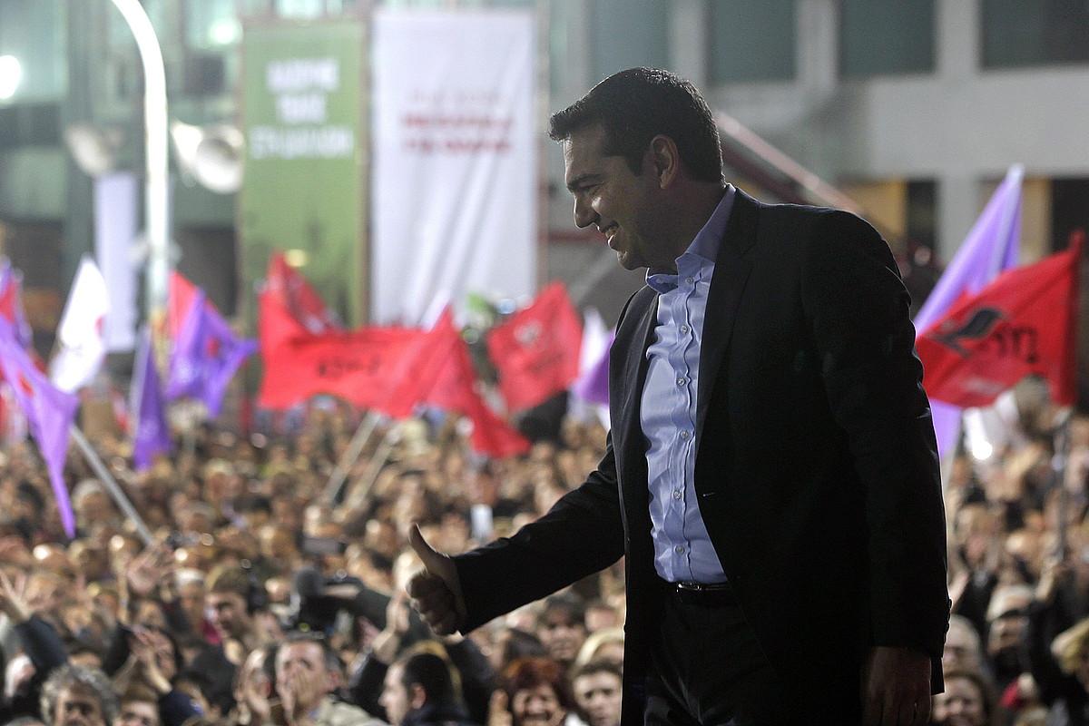 Syrizako buru Alexis Tsipras, atzoko mitin jendetsuan.