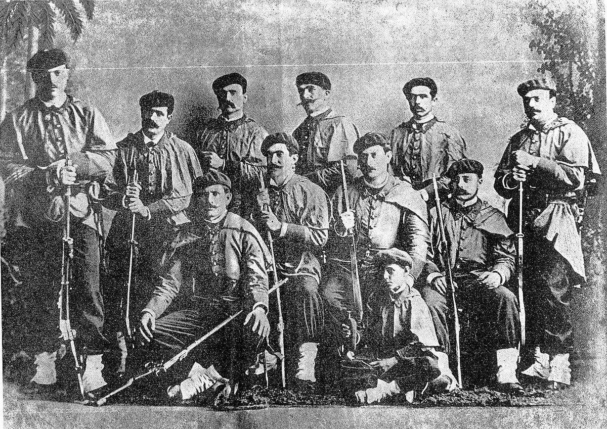 Kubako independentzia gerran ibili ziren zenbait mikelete Habanan (Kuba), 1888. urte inguruan.