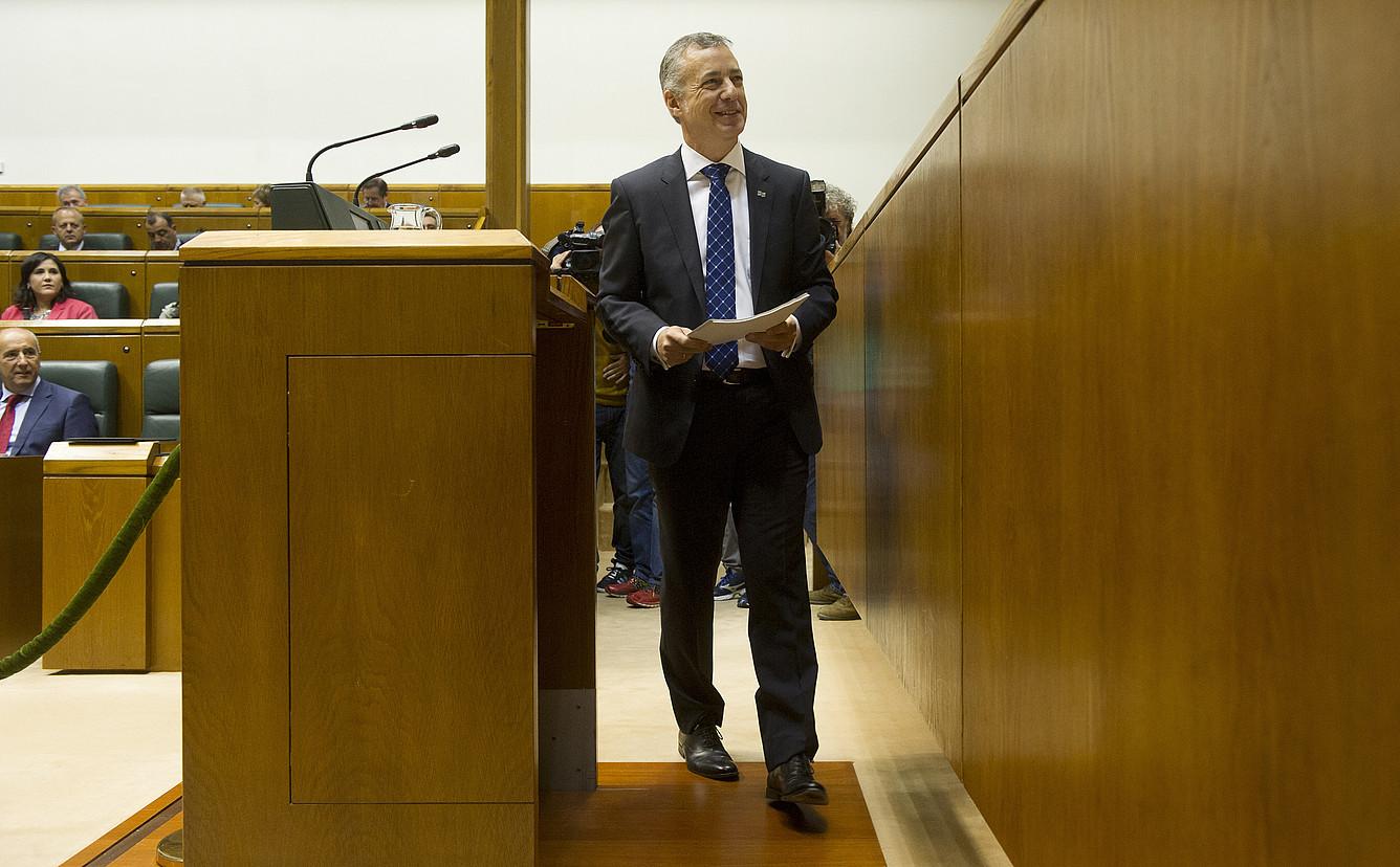 Iñigo Urkullu lehendakaria atzo, Eusko Legebiltzarreko politika orokorreko saioan. / RAUL BOGAJO / ARGAZKI PRESS