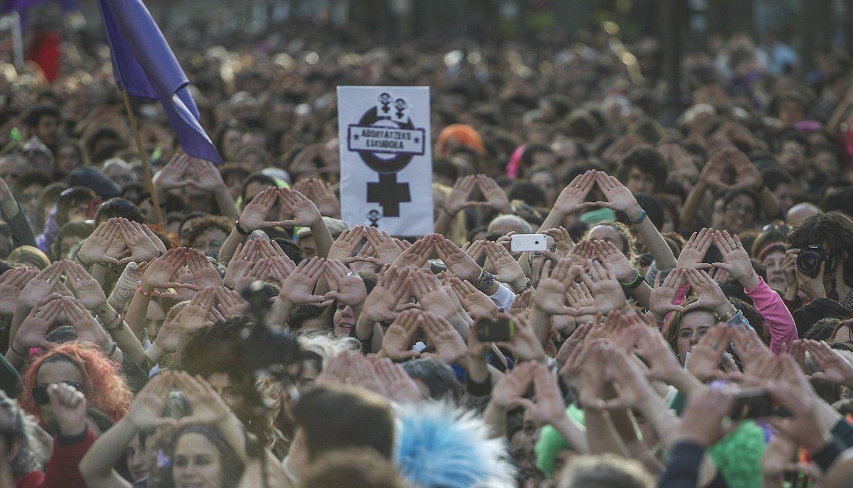 Abortatzeko eskubidearen alde Iruñean egindako manifestazioa, iazko apirilean. ©JAGOBA MANTEROLA / ARP
