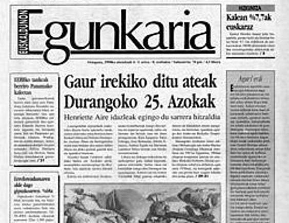 'Euskaldunon Egunkaria'-ren lehen aleko azala.