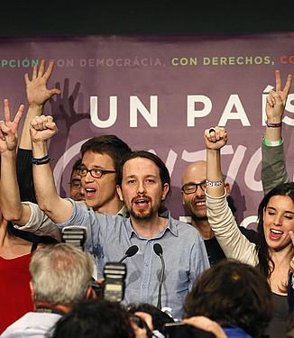 Pablo Iglesias, emaitzak ospatzen, Madrilen. / JUANJO MARTIN / EFE