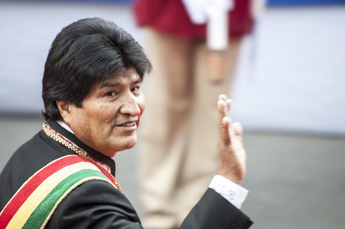 Evo Morales Boliviako presidentea, atzo, legebiltzarrean egindako saioaren aurretik, La Pazen. ©JOANES ETXEBARRIA