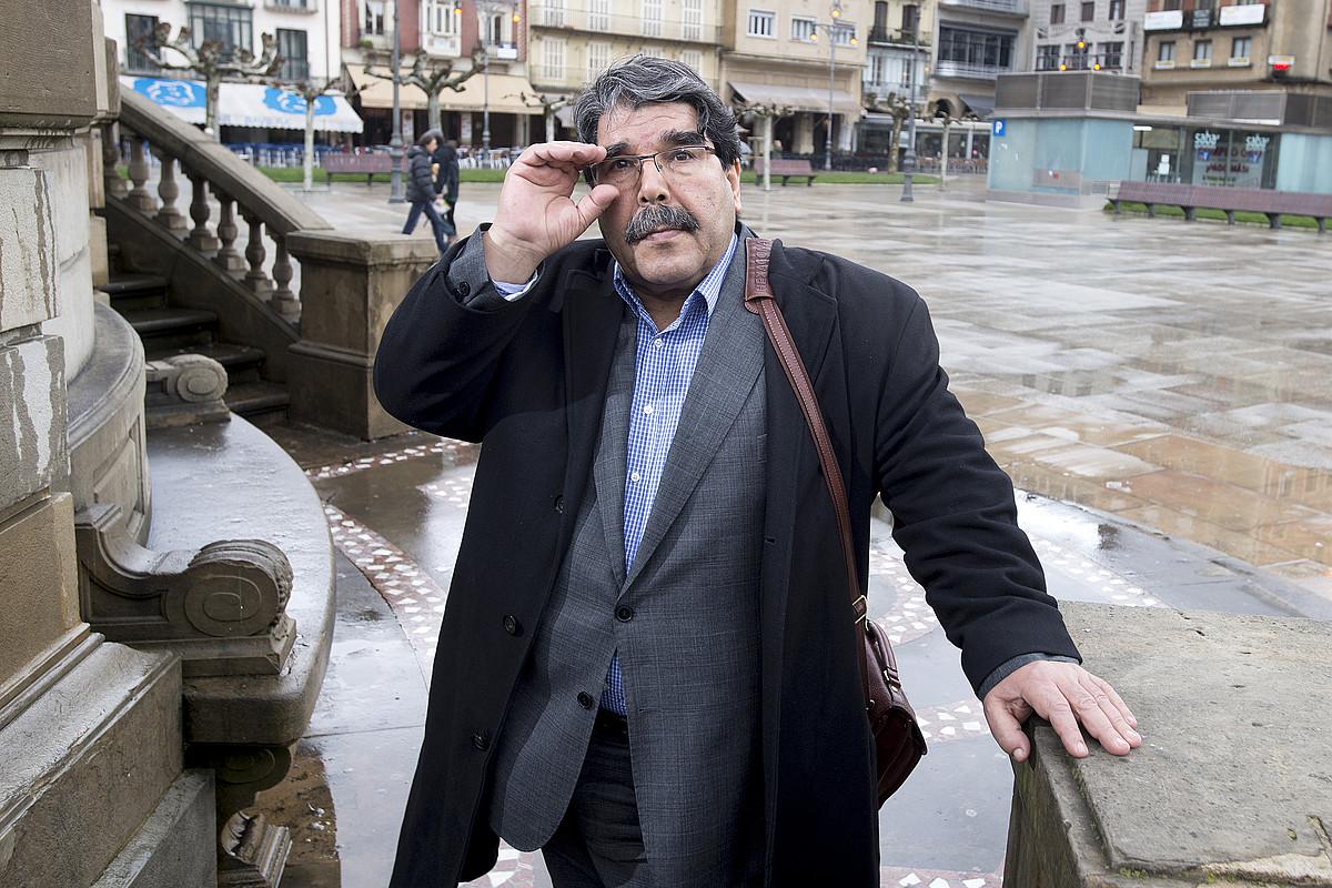 Saleh Muslim, Iruñera 2014ko martxoan egin zuen bisitan. ©IÑIGO URIZ / ARGAZKI PRESS