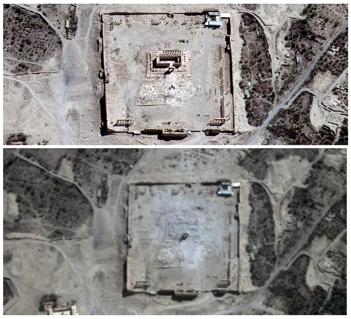 Irudi guztietan Bel tenplua (Palmira-Siria) ageri da, itxura bateko suntsiketaren aurretik eta ondoren. ©BERRIA