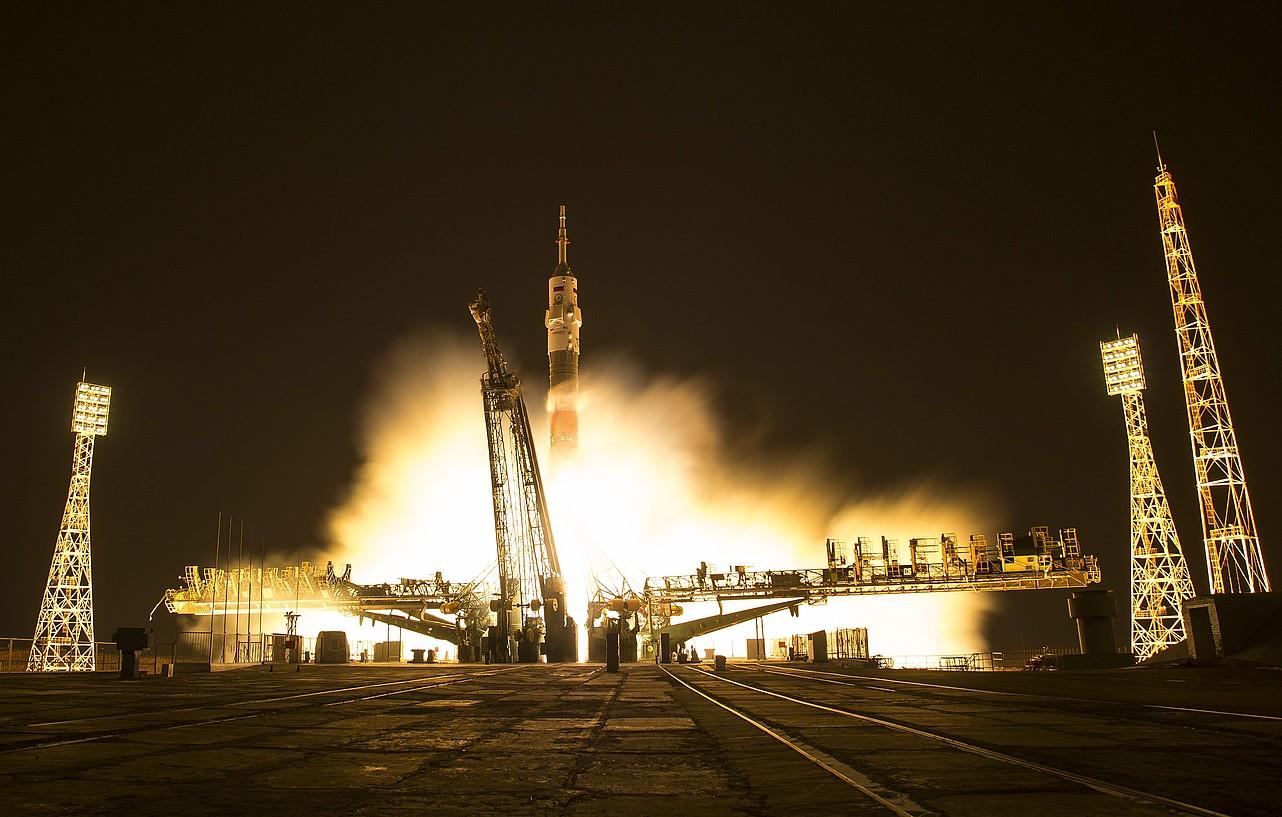 <em>Soyuz MS-03</em> espaziontzia zerura bidean. ©BILL INGALLS / EFE