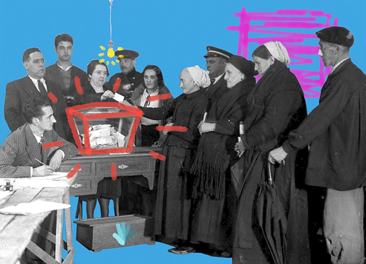 Josefa Gervasia Agirrebengoa, Josefa Suinaga eta Maria Josefa Atxa, 1933. urtean, Euskal Estatutuari buruzko galdeketan botoa ematen, Eibarko Aginaga auzoan. / JATORRIZKO ARGAZKIA: INDALECIO OJANGUREN / ARGAZKIAREN LANKETA: IUNE TRECET (BERRIA)