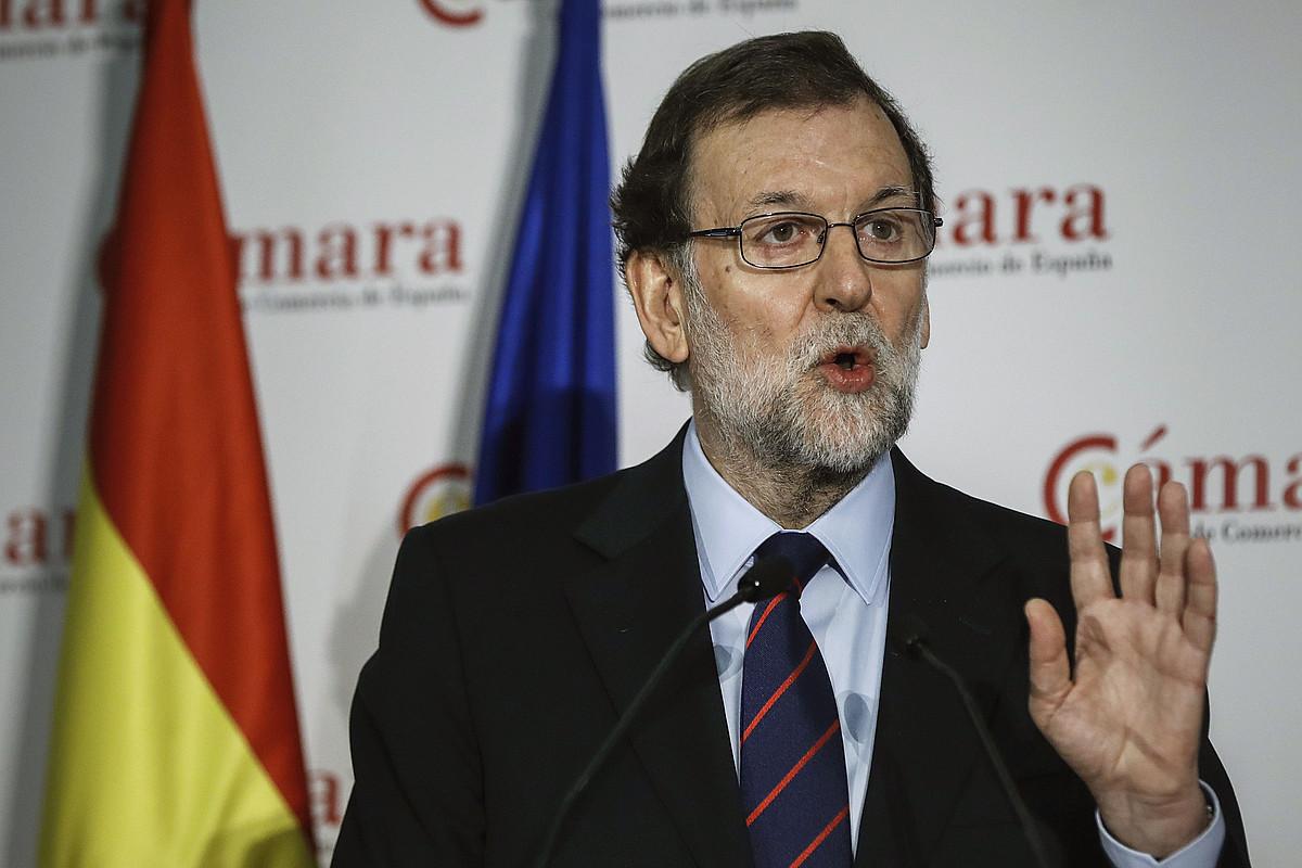 Mariano Rajoy Espainiako presidentea, atzo, Espainiako Merkataritza Ganberan eman zuen hitzaldian. ©EMILIO NARANJO / EFE