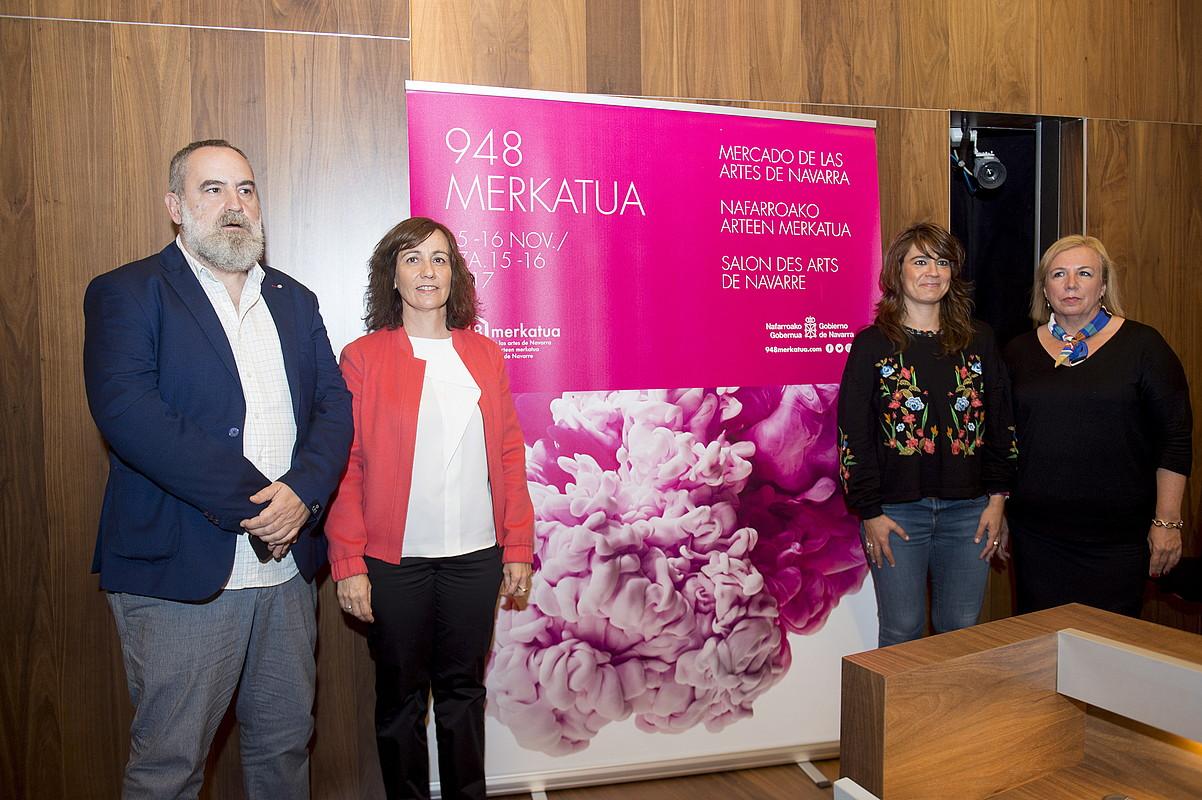 Irudian, Perez, Herrera, Beloki eta Perez Jurio atzo, 948 Merkatuaren aurkezpenean. ©IÑIGO URIZ / ARGAZKI PRESS
