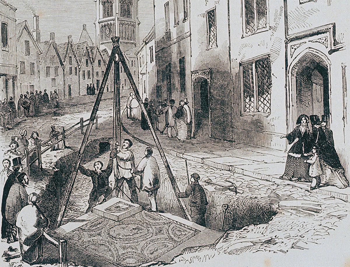 Grabatua. Langileak erromatar teseladun zorua azaleratzen, Cirenceslerreko kalean, Ingalaterra, 1849 aldean. ©BERRIA
