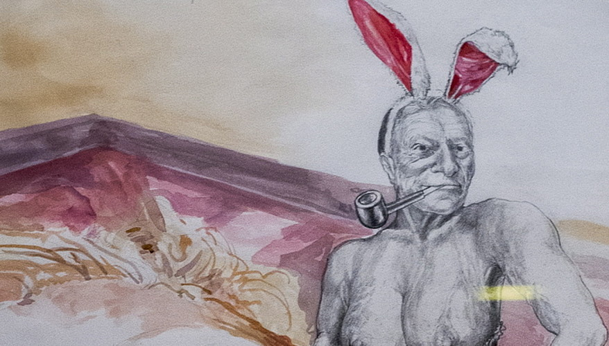 Hugh Hefner <em>Playboy</em> aldizkariko zuzendariaren irudiagatik itxi zuten Harrisonen lehen erakusketa.