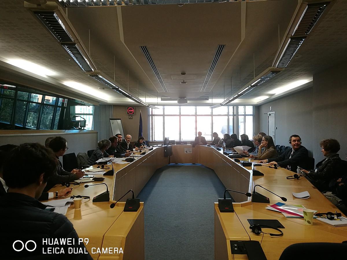 Euskal Herriko delegazioa eta europarlamentariak, atzo, Europako Parlamentuan, Bruselan. / BAKE BIDEA