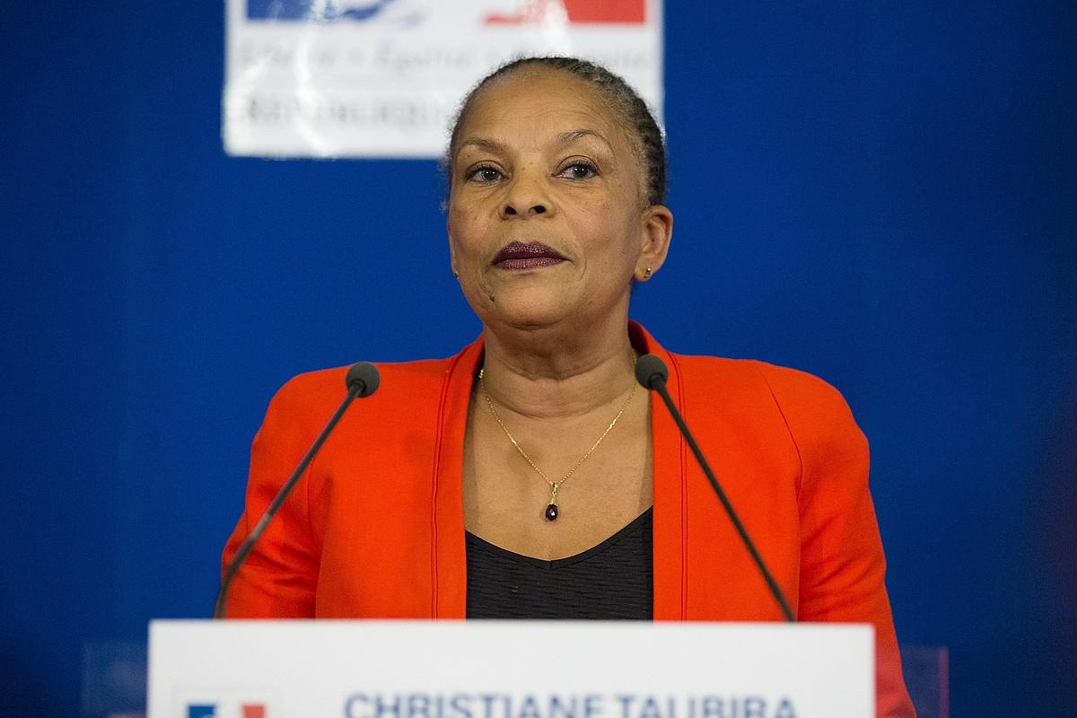 Christiane Taubira, Justizia Ministerioko agerraldi batean. ©G. VAN DER HASSELT / EFE