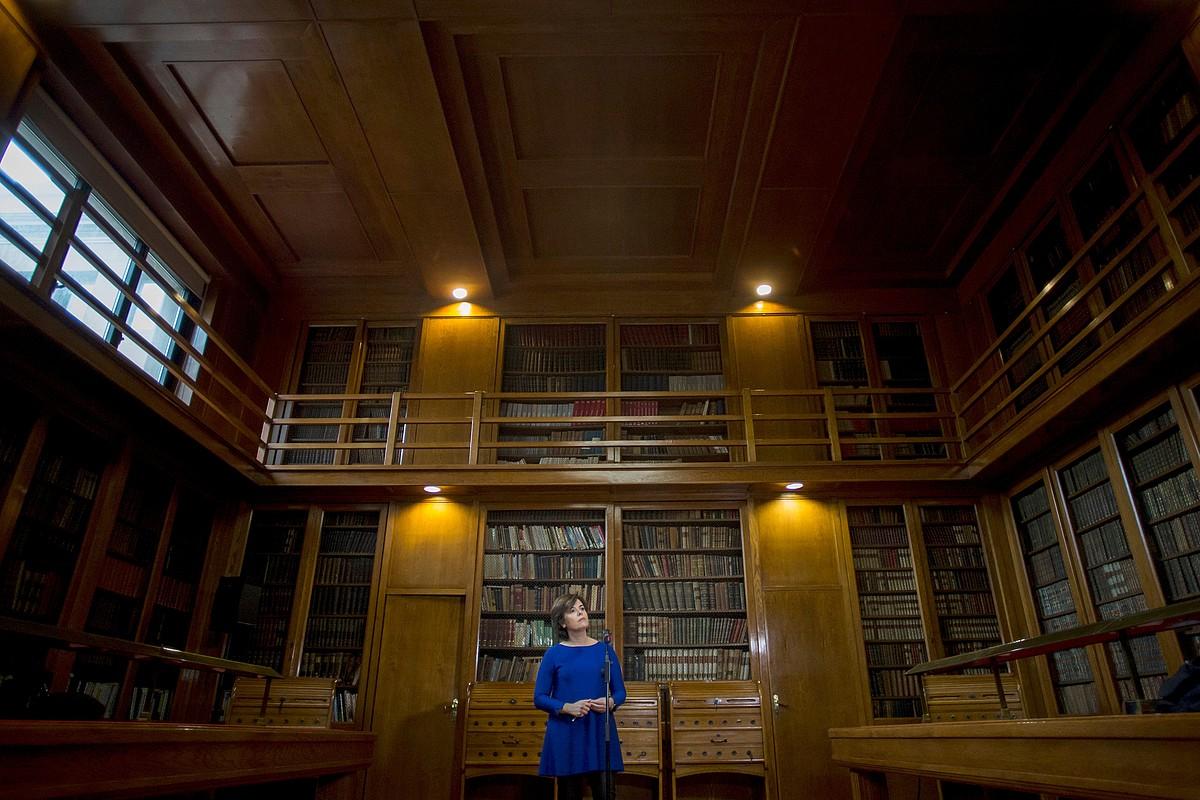 Soraya Saenz de Santamaria Espainiako presidenteorde eta Generalitateko burua, 155. artikulua ezarri eta gero, Foment del Treballen, Bartzelonan. ©Q. GARCIA/ EFE