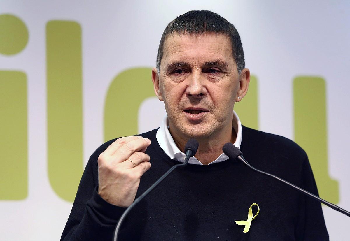 Arnaldo Otegi, pasa den ostiralean Donostian egindako agerraldian. ©G.E. / EFE